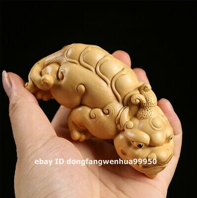 Chinese Lobular boxwood wood exorcise evil spirits Foo dog lion Pixiu sculpture
