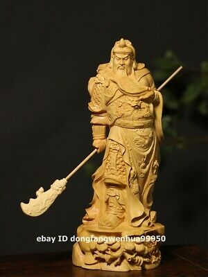 21 cm Chinese Lobular boxwood wood Dragon Guan gong Guan yu buddha art sculpture