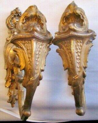 Antique Gilt Bronze / Brass Gold Ormolu French Curtain Stays Hold Tie Back Hooks