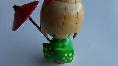 "VTG Wooden Japanese 4 3/4"" Tall Hand Crafted & Painted KoKeshi Doll, FAST SHIP!"
