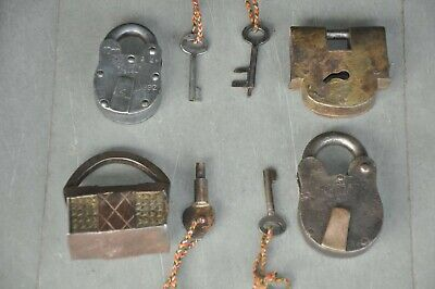 4 Pc Old Iron Handcrafted Solid Different Shape Padlocks