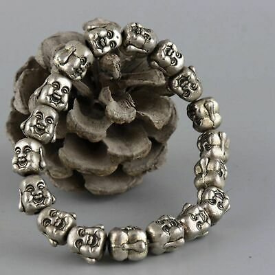 Collectable Old Miao Silver Hand-Carved 2 Face Buddha Moral Bring Luck Bracelet