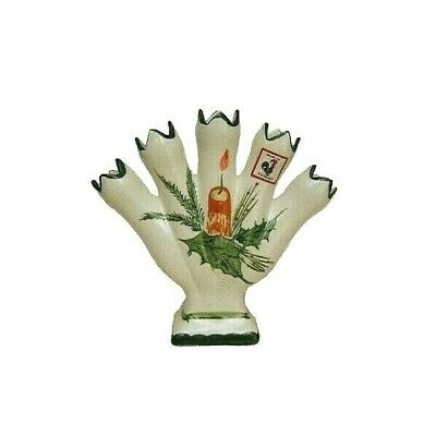 """Five Fingers Hand Painted  in Portugal Bud Vase 8"""" Tall Holiday Theme"""