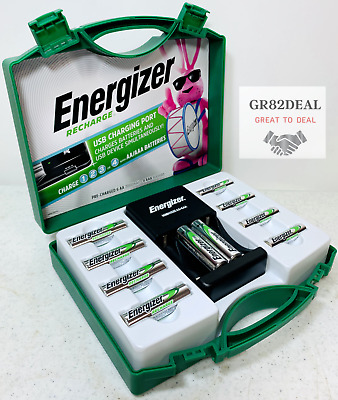 Energizer Rechargeable Batteries Kit w/ Charger 6 AA & 4 AAA Adapters C D NEW