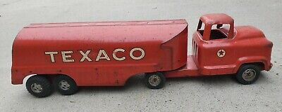 Buddy L Texaco Oil Vintage Red Metal Firetruck Excellent Con. Metal 1950's