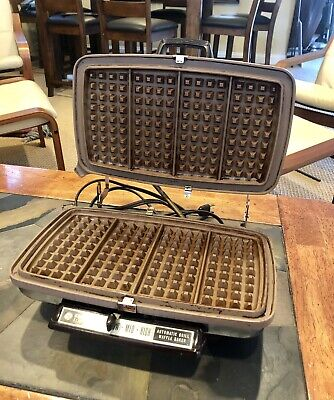 Vtg GE General Electric Chrome Waffle Maker/Grill USA Cat No 24G44T Works Great!