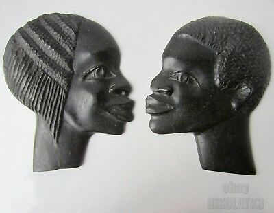 2 x  hand carved WOODEN African male and female face profile, art carving