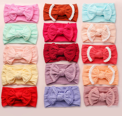 Baby Headband Cable Knit Nylon Soft Bow Turban Top Knot Headband Wrap Headbands
