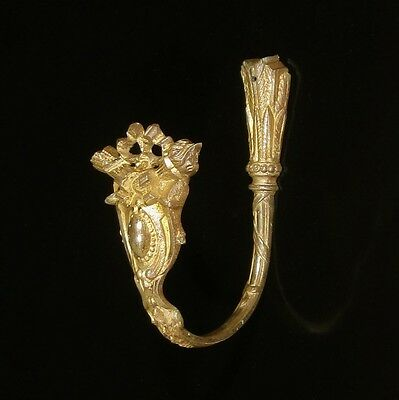 Antique French Gilded Bronze Ornament HookTieback, Neoclassic, Quiver, Stamped
