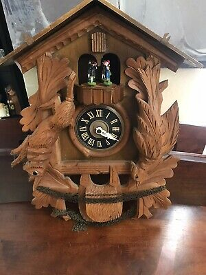 Large Beautiful German Carved 8 Day Musical Cuckoo Clock With Dancers Box