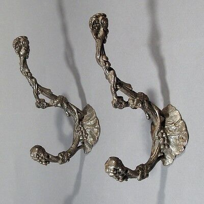 Pair of Antique French Bronze Patina Cast Iron Coat Hat Hooks, Grapevines Grapes