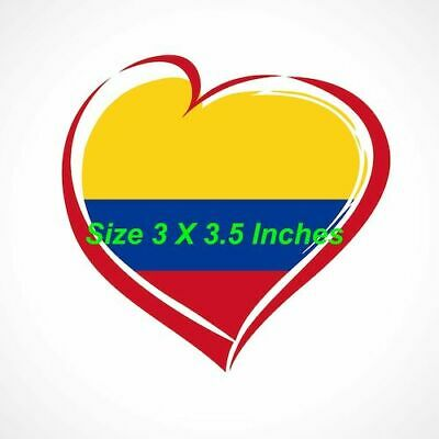 Colombian Flag Sticker - Car, Decal,Bandera De Colombia,Heart Shape, Corazon
