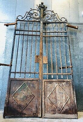 19th Century Architectral French Antique Wrought Iron Garden Courtyard Gate