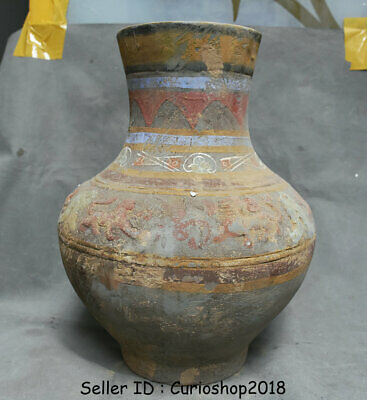 "14"" Old Chinese Han Painting Pottery Dynasty Dragon Beast Ears Bottle Vase Jar"