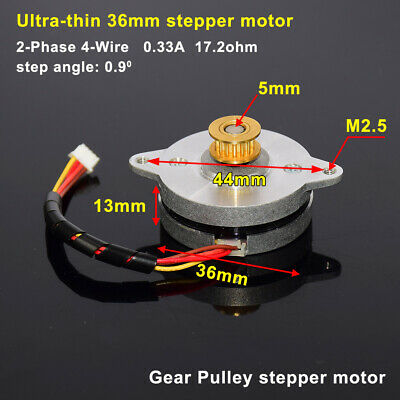 Ultra-thin Round Stepper Motor 2-phase 4-wire 0.9 Degree Precision Copper Pulley