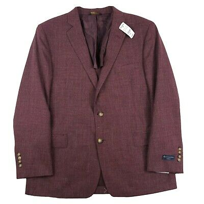Brooks Brothers Regent Fit Red Wine Wool Unstructured Blazer Size 46R NWT