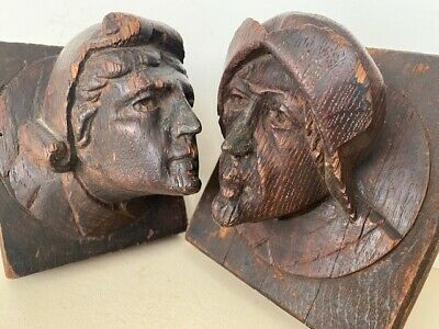Medieval/Renaissance Wooden Hand-Carved Heads