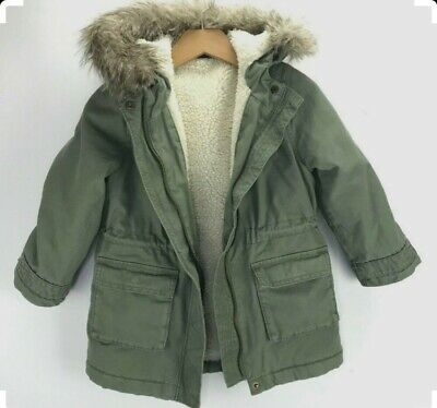 BNWT New Gap Kids Girls Baby Green Coat Faux Fur Hood Removable Gilet, 2 Years