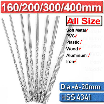 6-20mm Extra Long Drill Bit 160 200 250 300 400mm HSS Twist Shank Plastic Metal