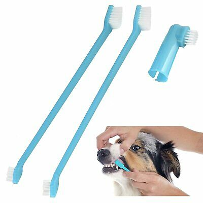 Dog Toothbrush Pack of 2 Double Ended Large Small LONG Handle 22cm and Finger