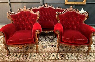 Absolutely Divine Vintage French Louis 3 Piece Sofa Lounge Suite Wing Armchairs