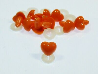 ORANGE HEART NOSES - COLOURFUL Animal Safety Nose for Soft Toys & Teddy Bears