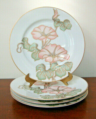 "Fitz and Floyd CLOISONNE MORNING GLORY Salad Plates 7.5"" Japan  SET OF 4"