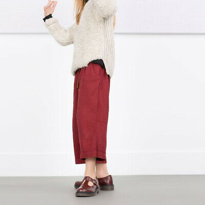 ZARA Girls Claret Trouseres Soft Collection Cotton Burgundy Red 11-12 years