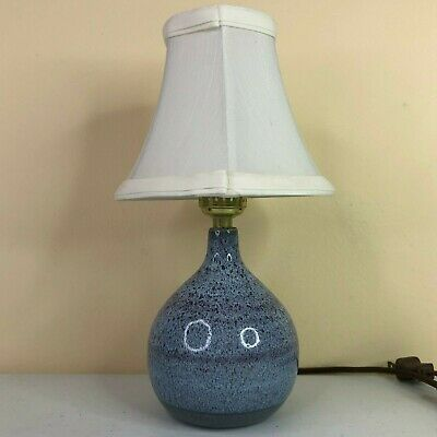 """Wizards Of Clay Vintage Lamp Table Shelf 1989 Blue Pottery Glazed 10"""" Tall"""