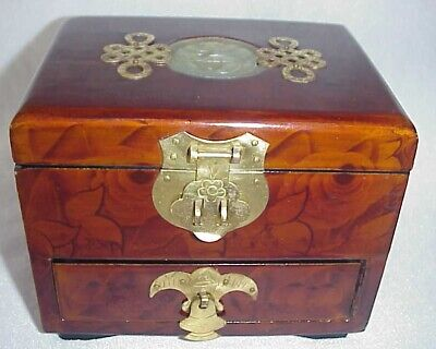 Vtg. Chinese Jewelry Box W/ Jade Medallion & Brass Drawer Rose Pattern In Wood