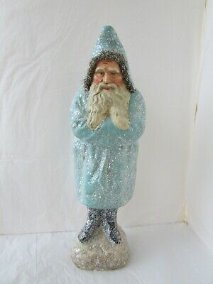 KD Vintage Large Primitive Old World Style Aqua Santa Claus Figure Resin Plaster