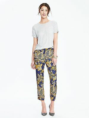 NEW Banana Republic Womens Avery Silky Floral Crop Pants Blue Gold 10 P M $98