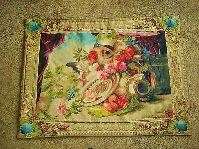 "Gobly's Tapestry Mandolin & Fruit 40"" x 54"" Wool & Cotton, Made in France"