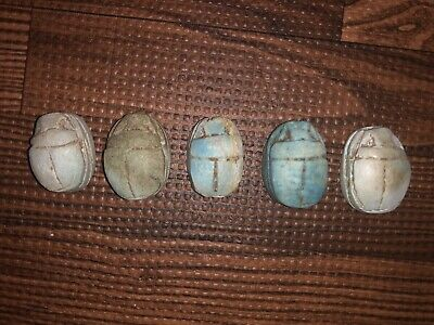 Five ( 5 ) Larger Antique Egyptian Carved Stone Faience Scarab Beads Pendants