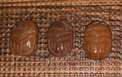 Three (3) Larger Antique Egyptian Carved Carnelian Stone Scarab Beads Pendants