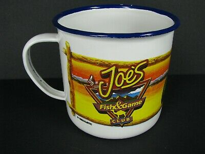 Vintage Joe's Fish & Game Club Enamelware Tin Cup Mug From Camel Cigarettes 1993