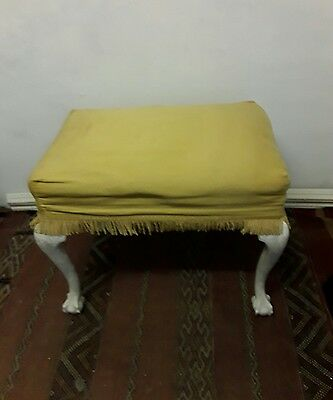 Quality Vintage Louis Style Stool Hand Carved Ball & Claw Feet -  Shabby Chic