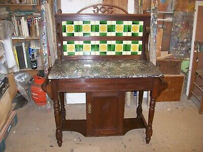 Antique Satin Wood Victorian Grey Marble Top Wash Stand With Green/Yellow Tiles
