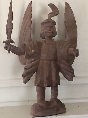 Antique Hand Carved Wooden Religious Folk Art Archangel Michael Statue