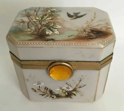 Antique French Opaline Hand painted Hinged Box with Ornate Mounts