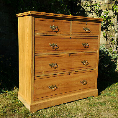 Edwardian English Ash 4 Height Chest Of Drawers C1905 (Oak Antique Victorian)