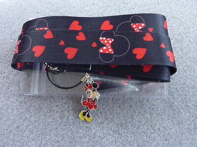 Lanyard Minnie Mouse Red Charm ID Card Pass Badge Key Whistle Holder Neck Strap