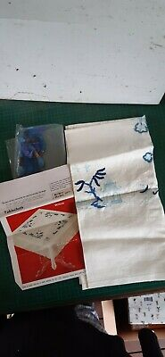 Vintage PENELOPE embroidery kit, partially done, WILLOW tablecloth, instructions