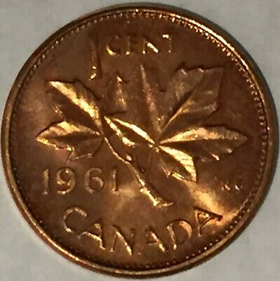 """1961 Canada 1 cent MS-BU Mssing """"M"""" from the Mint Roll, RED UNC with some spots."""