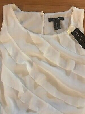 NWT White House Black Market Sleeveless Tiered Ruffle Top Size M