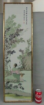Large Antique Chinese Silk Embroidery W Figure Signed