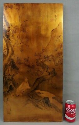 Antique Chinese Lacquer Painting on Panel Signed & Marked W Figures