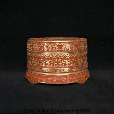 "4.8""Qianlong Marked Old China Qing Red glaze Porcelain Gilt Dynasty Bat Food Box"