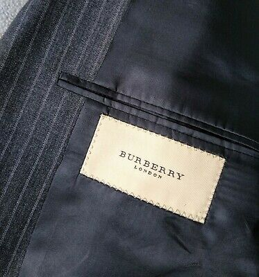 Burberry LondonTwo piece Suit 40R Two Button Gray striped Wool 34W Pleated Pants