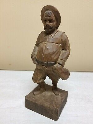 Vintage Hand Carved Wood Statue Sancho Panza OURO ARTESANIA MADE IN SPAIN # 701